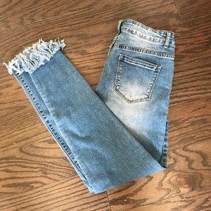 Medium wash ultra high rise jeans